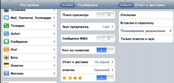 Отчет о доставке на iPhone