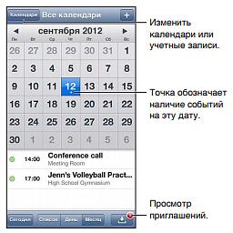 Интерфейс календаря на iPod touch